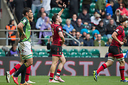 """Twickenham, Surrey United Kingdom. Wales, Owen JENKINS, """"looks the heavens with single finger pointing as he walks awau after  pointing after """"touching down"""", during the Pool A game at the """"2017 HSBC London Rugby Sevens"""",  Saturday 20/05/2017 RFU. Twickenham Stadium, England    <br /> <br /> [Mandatory Credit Peter SPURRIER/Intersport Images]"""