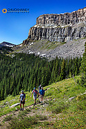 Backpacking along the Chinese Wall in the Bob Marshall Wilderness, Montana, USA