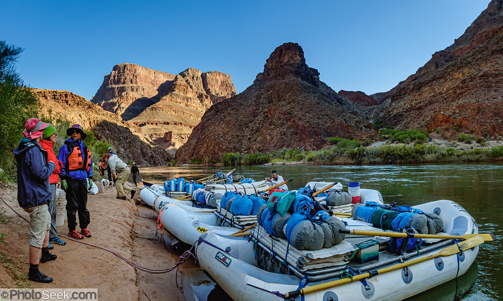 At Two Hundred and Twenty Mile Canyon, we stayed at the Middle Camp at Colorado River Mile 220.1. This photo is on the morning of Day 16 of 16 days rafting 226 miles down the Colorado River in Grand Canyon National Park, Arizona, USA. Multiple overlapping photos were stitched to make this panorama. For this photo's licensing options, please inquire at PhotoSeek.com.