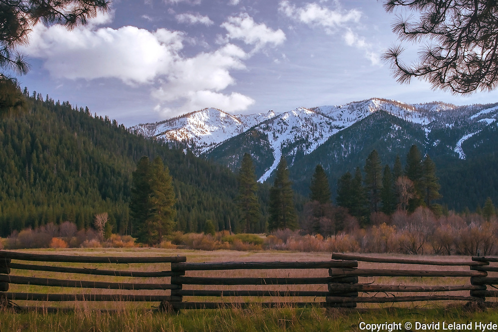 Evening Sun, Grizzly Ridge Across Genesee Valley, Sierra Nevada Mountains, California ranches, Wooden Fence, Pine Tree, Ponderosa Pine