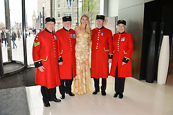 Miss England KIRSTY HASLEWOOD and Chelsea Pensioners at the Soldiering On Awards held at the Park Plaza Hotel, Westminster Bridge, London on 5th April 2014.