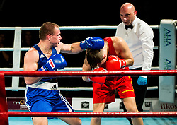 Aljaz Venko  of Slovenia (BLUE) fights against Marcel Rumpler of Austria (RED) in Elite 75 kg Category during Dejan Zavec Boxing Gala event in Sentilj, on September 30, 2017 in Mond, Casino & Hotel, Sentilj, Slovenia. Photo by Vid Ponikvar / Sportida