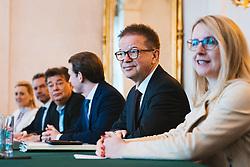 04.03.2020, Bundeskanzleramt, Wien, AUT, Austausch der Bundesregierung mit den Sozialpartnern zum Coronavirus, im Bild v. l. Christine Aschbacher (OeVP), Karl Nehammer (OeVP), Werner Kogler (Gruene), Sebastian Kurz (OeVP), Rudolf Anschober (Gruene), Magarete Schramboeck (OeVP)// during press conference after an exchange of the federal government with the social partners on the corona virus at the federal chancellery in Vienna, Austria on 2020/03/04. EXPA Pictures © 2020, PhotoCredit: EXPA/ Florian Schroetter