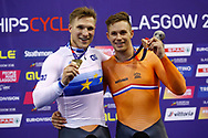 Podium, Men Sprint, Jeffrey Hoogland (Netherlands) gold medal, Harrie Lavreysen (Netherlands) Bronze medal,during the Track Cycling European Championships Glasgow 2018, at Sir Chris Hoy Velodrome, in Glasgow, Great Britain, Day 5, on August 6, 2018 - Photo luca Bettini / BettiniPhoto / ProSportsImages / DPPI<br /> - Restriction / Netherlands out, Belgium out, Spain out, Italy out -