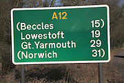 Trunk road distance sign A12 Suffolk, England