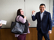 22 JANUARY 2020 - CHARLES CITY, IOWA: ANDREW YANG talks to a woman who approached him after speaking at a campaign event in the public library in Charles City, IA. Yang, an entrepreneur, is running for the Democratic nomination for the US Presidency in 2020. He is in northern Iowa as a part of his 17 day bus tour across the state. Iowa hosts the the first election event of the presidential election cycle. The Iowa Caucuses will be on Feb. 3, 2020.        PHOTO BY JACK KURTZ