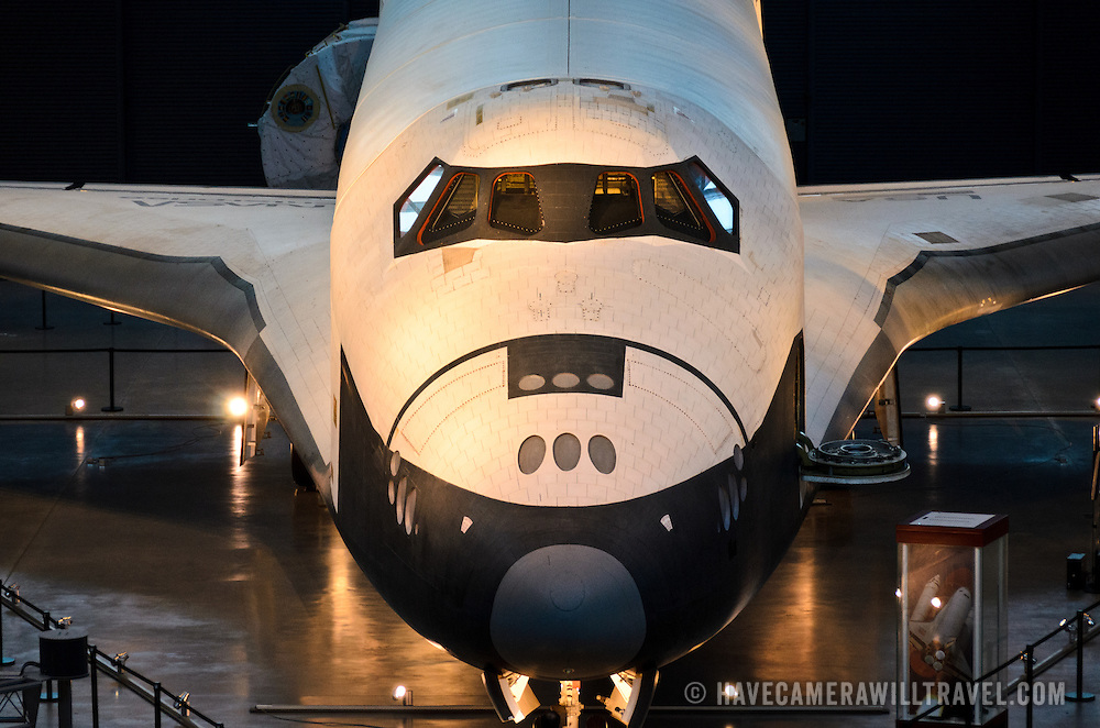 Elevated view of the front of the space shuttle Enterprise on display at the Smithsonian National Air and Space Museum's Udvar-Hazy Center, a large hangar facility at Chantilly, Virginia, next to Dulles Airport and just outside Washington DC.