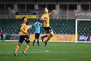 Yan Klukowski of Newport county ® celebrates after he scores his teams 2nd  goal. Emirates FA Cup 1st round replay match, Newport county v Brackley Town at Rodney Parade in Newport, South Wales onTuesday 17th November 2015. pic by Andrew Orchard, Andrew Orchard sports photography.