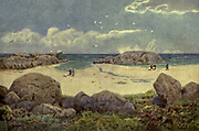 Camps Bay, on the Victoria Road, Cape Town From the book ' The Cape peninsula: pen and colour sketches ' described by Réné Juta and painted by William Westhofen. Published by A. & C. Black, London  J.C. Juta, Cape Town in 1910