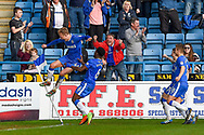 Gillingham midfielder Josh Wright (44) celebrates scoring his third penalty goal (3-2)  during the EFL Sky Bet League 1 match between Gillingham and Scunthorpe United at the MEMS Priestfield Stadium, Gillingham, England on 11 March 2017. Photo by Martin Cole.