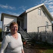 Elsa Soreivsen, local resident of fishing village in Stott, Norway. Population 47 people.