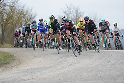 Tiffany Cromwell leads into the next gravel sector at Strade Bianche - Elite Women. A 127 km road race on March 4th 2017, starting and finishing in Siena, Italy. (Photo by Sean Robinson/Velofocus)