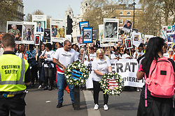© Licensed to London News Pictures. 17/04/2019. London, UK. Bereaved relatives and campaigners march down Whitehall to demand action on knife crime in the capital. Photo credit: Rob Pinney/LNP