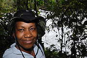 Ecuador, May 24 2010: Lorna Brooks near the Cosanga River. Images from Cabanas San Isidro. Copyright 2010 Peter Horrell