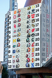 The college football top 25 appears on the video board outside the College Football Hall of Fame, Friday, August 30, 2019, in Atlanta. (Paul Abell via Abell Images for the Chick-fil-A Kickoff Game)