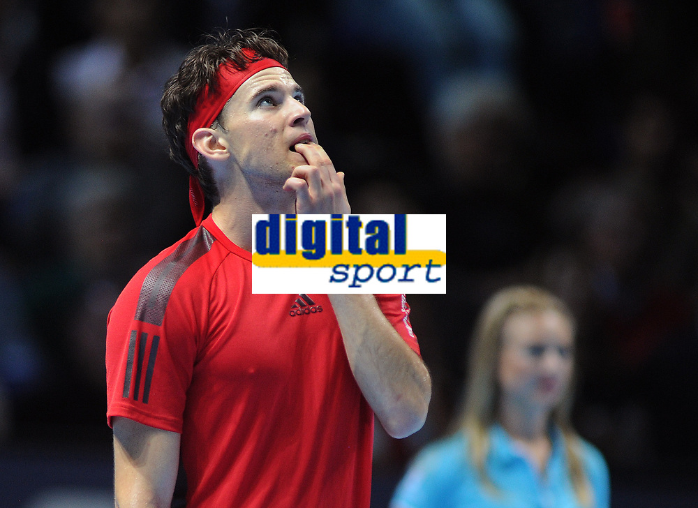 Tennis - 2017 Nitto ATP Finals  at The 02 - Day four, Wednesday <br /> <br /> Pablo Carreno Busta  v Dominic Thiem <br />  <br /> Dominic Thiem has to wait for hawk eye to tell him if the ball was in.  <br /> <br /> COLORSPORT/ANDREW COWIE