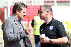 Peterborough United Manager, Dave Robertson talks with Swindon Town Manager, Mark Cooper pre-match - Photo mandatory by-line: Joe Dent/JMP - Mobile: 07966 386802 - 11/04/2015 - SPORT - Football - Swindon - County Ground - Swindon Town v Peterborough United - Sky Bet League One