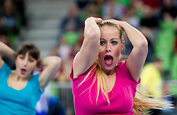 Dance group of Mojca Horvat perform during handball match between RK Krim Mercator and Buducnost Podgorica (MNE) in season 2011/2012 of EHF Women's Champions League, on February 24, 2012 in Arena Stozice, Ljubljana, Slovenia. Buducnost defeated Krim 27-26. (Photo By Vid Ponikvar / Sportida.com)