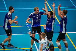 Duco Krook of Vocasa, Tom van Steenis of Vocasa, Daan Haanappel of Vocasa, Mees Blom of Vocasa in action during the first league match in the corona lockdown between Talentteam Papendal vs. Vocasa on January 13, 2021 in Ede.