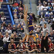 HARTFORD, CONNECTICUT- JANUARY 4: Gabby Williams #15 of the Connecticut Huskies defends against Bre McDonald #20 of the East Carolina Lady Pirates during the UConn Huskies Vs East Carolina Pirates, NCAA Women's Basketball game on January 4th, 2017 at the XL Center, Hartford, Connecticut. (Photo by Tim Clayton/Corbis via Getty Images)