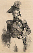 Nicholas 1 (1796-1855) Emperor (Tsar) of Russia from 1825. Nicholas in military uniform.  His ambition was to absorb Turkey into the Russian empire, an ambition opposed by Britain and France and which resulted in the Crimean (Russo-Turkish) War of 1853-1856.  From 'The Illustrated London News' (London, 1855). Engraving.