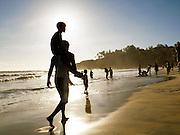 Silouhette of locals on Papanasham Beach (Beach of Redemption), Varkala, Kerala, India