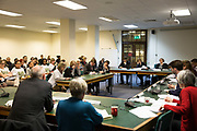 Cressingham Gardens tenants and residents, Anne Cooper and Helen Carr, attend a Lambeth Cabinet meeting at Lambeth Town Hall on 9th March 2015 in South London, United Kingdom. Cressingham Gardens is a council garden estate, located on the southern edge of Brockwell Park. It comprises of 306 dwellings and built to the design of Lambeth Borough Council architect Edward Hollamby in the early 1970s. In 2012, Lambeth Council proposed regeneration of the estate, a decision highly opposed by many residents. Since the announcement, the highly motivated campaign group Save Cressingham Gardens has been active.