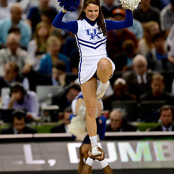 Apr 2, 2012; New Orleans, LA, USA; Kentucky Wildcats cheerleader performs during the first half in the finals of the 2012 NCAA men's basketball Final Four game against the Kansas Jayhawks at the Mercedes-Benz Superdome. Mandatory Credit: Derick E. Hingle-US PRESSWIRE