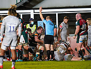 Referee Ian Tempest signals a try by Leicester Tigers flanker Tommy Reffell during a Gallagher Premiership Round 7 Rugby Union match, Friday, Jan. 29, 2021, in Leicester, United Kingdom. (Steve Flynn/Image of Sport)