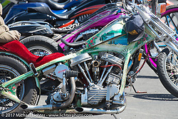 Justin Anderson of Montana put together this survivor chopper at the Rats Hole Show at the Buffalo Chips Crossroads area during the annual Sturgis Black Hills Motorcycle Rally.  SD, USA. Thursday August 10, 2017.  Photography ©2017 Michael Lichter.