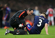 Manchester United's Luke Shaw goes off injured<br /> <br /> Barclays Premier League- Arsenal vs Manchester United - Emirates Stadium - England - 22nd November 2014 - Picture David Klein/Sportimage