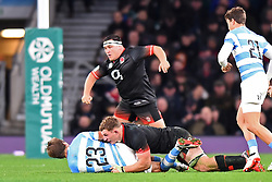 November 11, 2017 - London, United Kingdom - England's Sam Underhill makes the tackle on Argentina's Sebastian Cancellere with England's Jamie George in the background during Old Mutual Wealth Series between England against Argentina at Twickenham stadium , London on 11 Nov 2017  (Credit Image: © Kieran Galvin/NurPhoto via ZUMA Press)