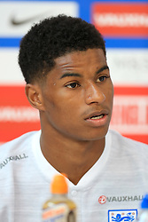 England's Marcus Rashford speaks during the media day at St George's Park, Burton. PRESS ASSOCIATION Photo. Picture date: Tuesday June 5, 2018. See PA story SOCCER England. Photo credit should read: Mike Egerton/PA Wire. RESTRICTIONS: Use subject to FA restrictions. Editorial use only. Commercial use only with prior written consent of the FA. No editing except cropping.