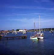 Boats at moorings on the River Deben, Woodbridge, Suffolk, England