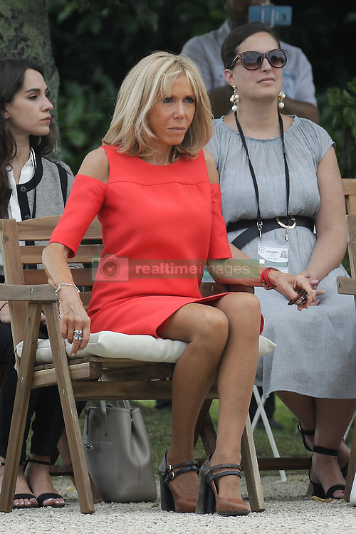 Brigitte Macron, wife of French President Emmanuel Macron look at Basque dancers in the garden of the Villa Arnaga, House-museum of Edmond Rostand, during a visit on traditional Basque culture in Combo-les-Bains, near Biarritz as part of the G7 summit, August 25, 2019. Photo by Thibaud Moritz/ABACAPRESS.COM