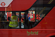 The curved lines of London's newest red double-decker Routemaster (27th Feb 2012) bus which is seen in service on the capital's streets for the first time. The hybrid NB4L, or the Borismaster, New Routemaster or Boris Bus, is a 21st century replacement of the iconic Routemaster as a bus built specifically for use in London and is said to be 40 per cent more fuel efficient than conventional diesel buses. The brainchild of London's Conservative mayor Boris Johnson, its funding has been controversial amid massive fare increases in transport.