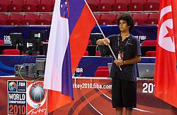 Slovenia's and Tunisia's flags in Abdi Ipekci Arena - Abdi Ipekci Spor Salonu na Ulasim two days prior to the 2010 FIBA Basketball World Championship, on August 26, 2010, in Istanbul,Turkey. (Photo by Vid Ponikvar / Sportida)