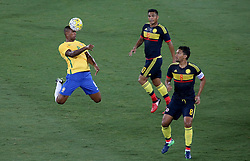 RIO DE JANEIRO, Jan. 26, 2017  Walace (L) of Brazil heads the ball during a friendly match between Brazil and Colombia at the Engenhao Stadium in Rio de Janeiro, Brazil, Jan. 25, 2017. All the net income of the match will be passed on to the Chapecoense Football Association. (Credit Image: © Li Ming/Xinhua via ZUMA Wire)