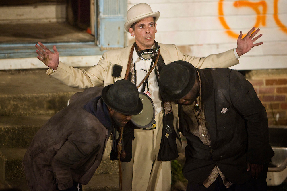 J Kyle Manzay as Estragon, T. Ryder Smith as Pozzo and Wendell Pierce as Vladimir in Samuel Beckett's 'Waiting for Godot' in post-Katrina New Orleans, a project by Paul Chan and co-produced by Creative Time.