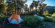 Sunset camp at Summit Lake in Hoover Wilderness of Humboldt-Toiyabe NF, California, USA. Our backpack from Green Creek Trailhead to Summit Lake was 7.6 mi with 2360 ft gain, 310 ft descent, over a leisurely 3 days, then out on the fourth day. Multiple overlapping photos were stitched to make this panorama.