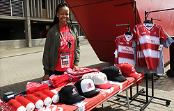 10/03/2018 Fortunate Mokoka sells Lions clothing, peak caps etc at the Gauteng Lions vs the Auckland Blues game at Emirates Airlines Park, Ellis Park, Johannesburg, South Africa. Picture: Karen Sandison/African News Agency (ANA)