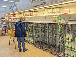 © Licensed to London News Pictures 20/09/2021. <br /> Sevenoaks, UK, A customer stands looking at empty milk trolleys in Sainsburys Sevenoaks, Kent today. Supermarket shortages are continuing across the UK due to a lack of supply and a shortage of lorry drivers which is expected to get a lot worse over the next few months. Photo credit:Grant Falvey/LNP