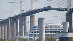 © Licensed to London News Pictures. 05/05/2016. Viking Sea under the QEII Bridge at Dartford. Brand new cruise ship Viking Sea has arrived in London for a christening ceremony at Greenwich. The 227 metre long cruise ship carries 930 passengers and is the biggest cruise ship to ever be christened in London. Credit : Rob Powell/LNP