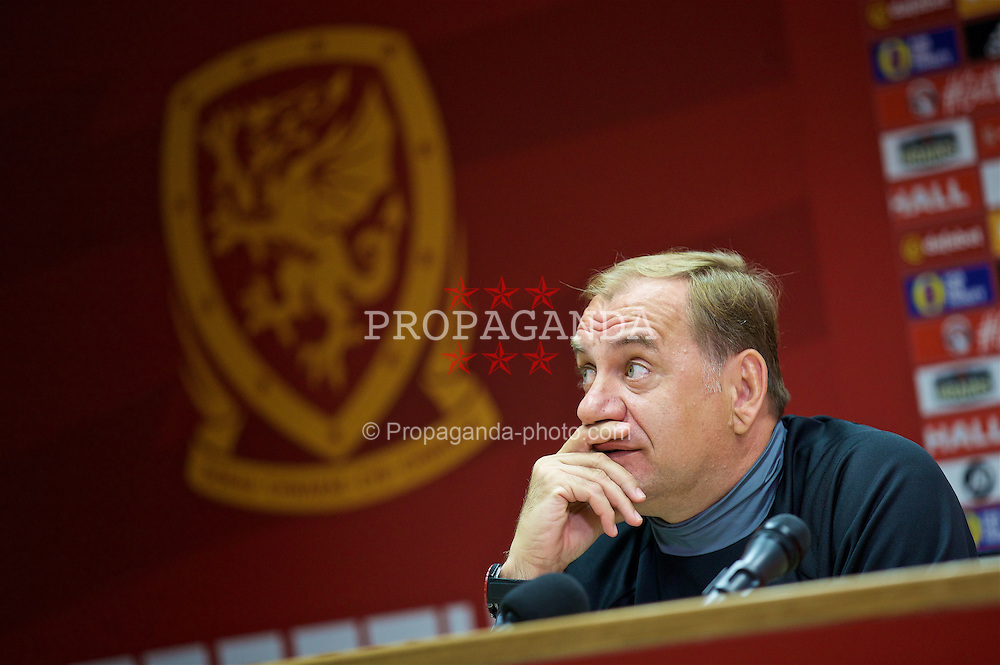 CARDIFF, WALES - Saturday, October 8, 2016: Georgia's head coach Vladimir Weiss during a press conference at the Cardiff City Stadium ahead of the 2018 FIFA World Cup Qualifying Group D match against Wales. (Pic by David Rawcliffe/Propaganda)