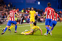 Atletico de Madrid's player Yannick Carrasco and Filipe Luis and CF Rostov's player Andrei Prepelita during a match of UEFA Champions League at Vicente Calderon Stadium in Madrid. November 01, Spain. 2016. (ALTERPHOTOS/BorjaB.Hojas)