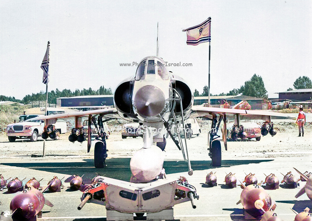 Israeli Air Force Dassault Mirage IIICJ fighter plane on the ground during maintenance - Colorized Archival Black and white Image