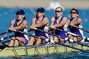 Sydney Olympics 2000 - Penrith Lakes, NSW.GBR W4X left to right.Miriam Batten,  Kathrine Grainger, Gillian Lindsay and Guin Batten .......... 2000 Olympic Regatta Sydney International Regatta Centre (SIRC) 2000 Olympic Rowing Regatta00085138.tif