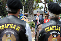 James. V. Scariot, Sr. of American Legion Post 31 leads a remembrance at Central Park in Salinas for Memorial Day.