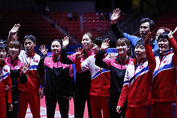 HALMSTAD, May 4, 2018  Players and coaches of the combined team of the Democratic People's Republic of Korea (DPRK) and South Korea greet the spectators after their women's semifinal match against Japan at 2018 World Team Table Tennis Championships in Halmstad, Sweden, May 4, 2018. The combined team of the Democratic People's Republic of Korea (DPRK) and South Korea lost the match 0-3. (Credit Image: © Ye Pingfan/Xinhua via ZUMA Wire)
