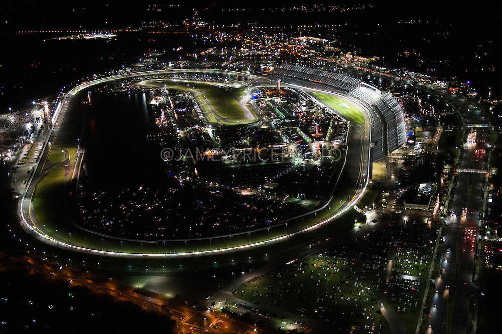 January 26-29, 2017: Rolex Daytona 24. Daytona International Speedway at night during the 55th running of the Rolex 24 Daytona arial view from a cessna plane